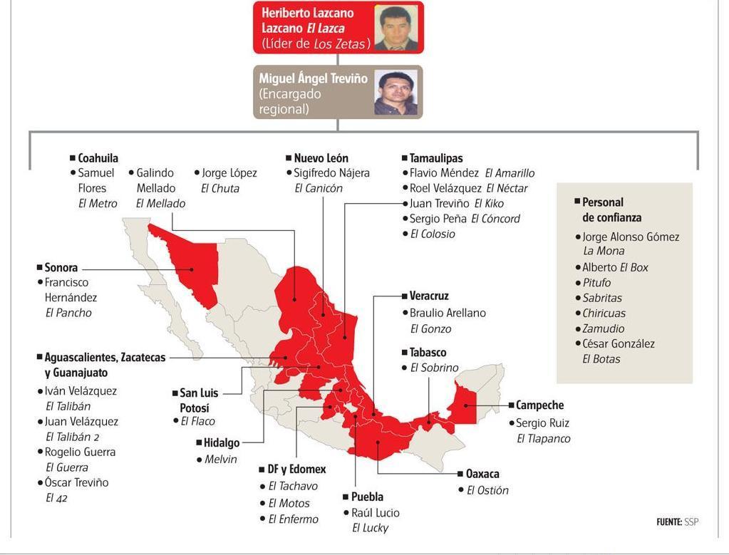 un mapa de donde andan y quienes son los grupos de narcos en el País