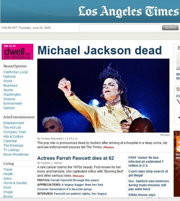 LA Times mj dead