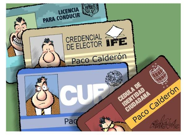 Cedula de Identidad Ciudadana del monero Paco Calderón, El Norte