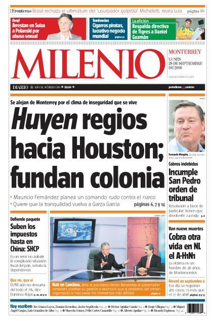 Portada Milenio 28 de septiembre 2009