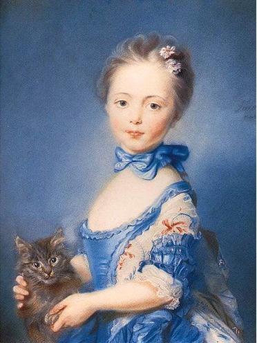 Niña con gato de Jean Baptiste Perronneau, 1745
