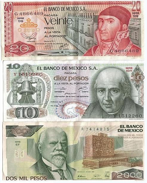 Billetes mexicanos con SA